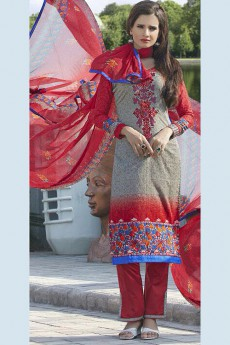 Greenish Grey & Red Colour Printed Pure Cotton Salwar Kameez