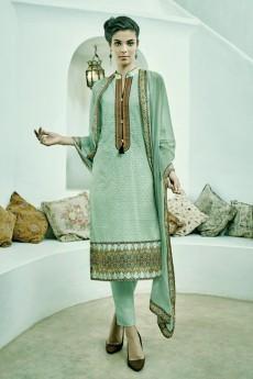 Pastel Green Chikankari Cotton Straight Style Salwar Suit