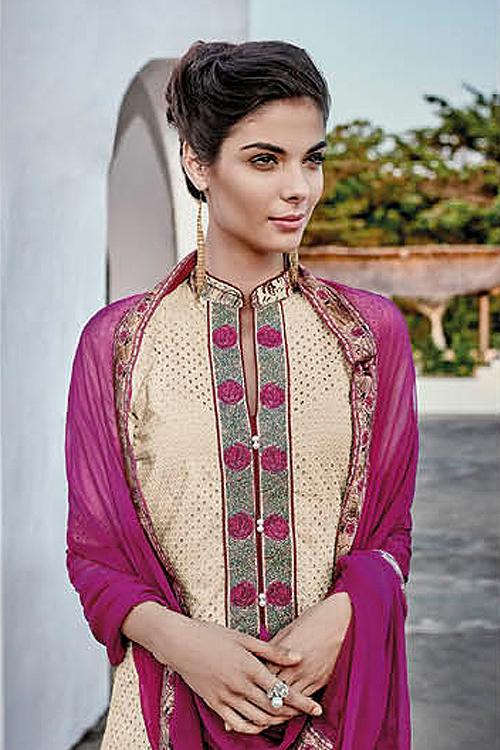 Buy Cream Pink Chikankari Work Cotton Straight Style ...