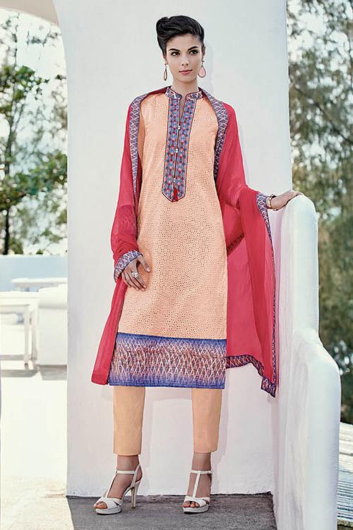 Pastel Orange Chikankari Work Cotton Straight Style Salwar Suit