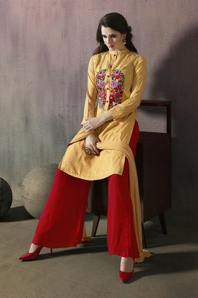 Mugdha Yellow and Ruby Red Thread Embroidered Georgette Palazzo Set