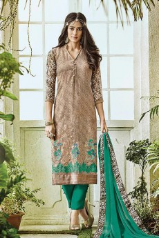 Light Brown & Green Printed Pure Georgette Straight Salwar Suits