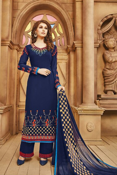 Elegant Navy Blue Embroidered Georgette Salwar/Palazzo Kameez