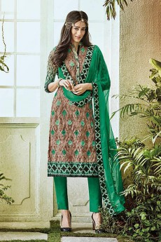 Light Brown & Green Printed Pure Georgette Straight Cut Salwar Suit