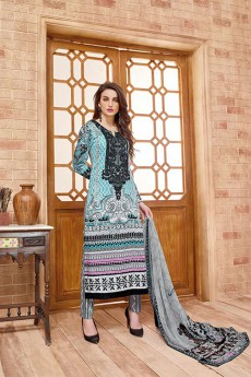 Sky Blue Salwar Suit Lace Embroidered in Cotton Satin with Pure Chiffon Dupatta