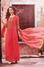 Casual Coral Pink Digital Printed Georgette Palazzo Suit