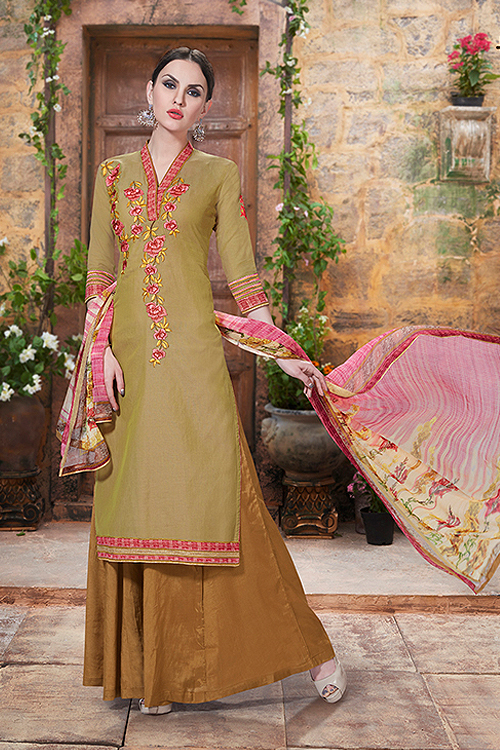 Green & Brown Palazzo Suit in Cotton With Printed Dupatta