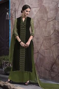 Palazzo Suit in Dark Moss Green & Black Digital Print Georgette