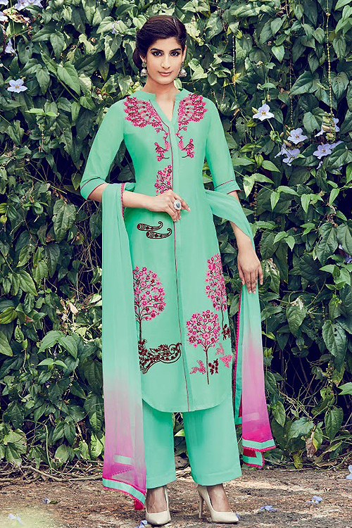 Mint Green Embroidered Cotton Satin Palazzo Suits