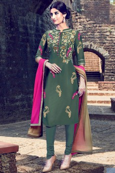 Seaweed Green Salwar Suit with Sequin Embroidery in Cotton With Shaded Dupatta