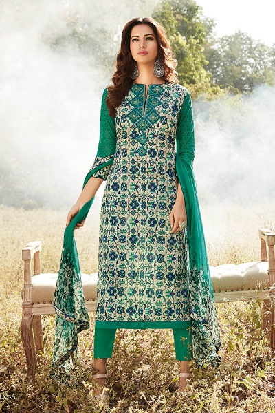 Smart & Chic Green Printed Embroidered Cotton Lawn Suit