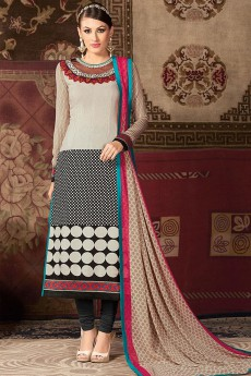 Off-White and Black Printed French Crepe Straight Long Salwar Suit