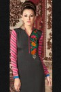 Salwar Suit in Dusty Black & Pink Printed French Crepe