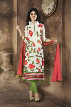 Elegant Off White & Mehandi Green Embroidered Chanderi Cotton Churidar Suits
