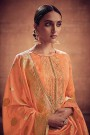 Pale Tangerine Embroidered Salwar Suit in Digital Print Cotton Silk with Pants & Banarasi Weave Dupatta