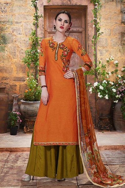 Orange & Green Palazzo Suit in Embroidered Cotton With Printed Dupatta