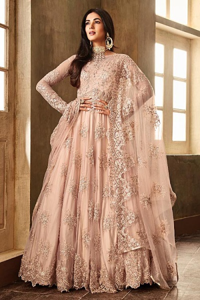 Enchanting Blush Pink Embroidered Anarkali Suit with Dupatta in Net