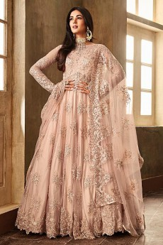 c28f4d4751e6 Enchanting Blush Pink Embroidered Anarkali Suit with Dupatta in Net