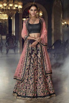 Deep Berry Silk Jacquard Lehenga Choli with Pink Net Dupatta