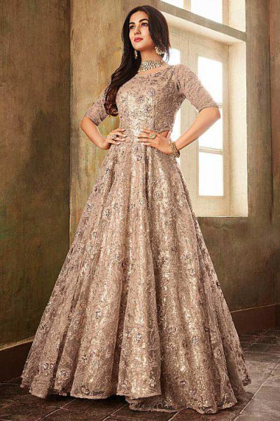 Radiant Anarkali Suit with Net Dupatta in Nude Shade