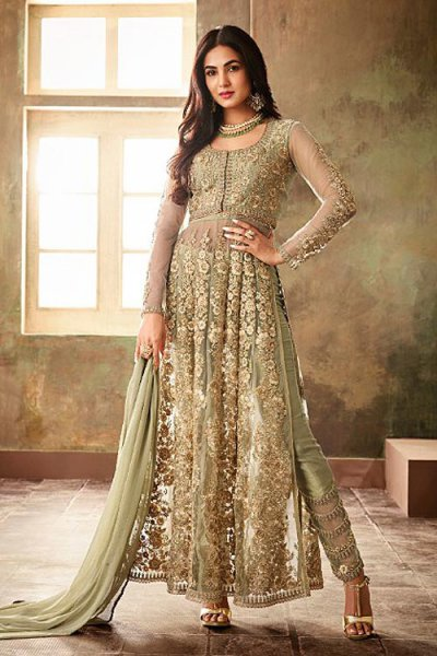 Mesmerizing Light Green Side Slit Anarkali Suit with Chiffon Dupatta