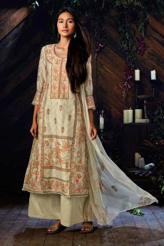 Off-White Straight-Cut Palazzo Suit In Pure Kora Silk With Digital Print & Stone Work