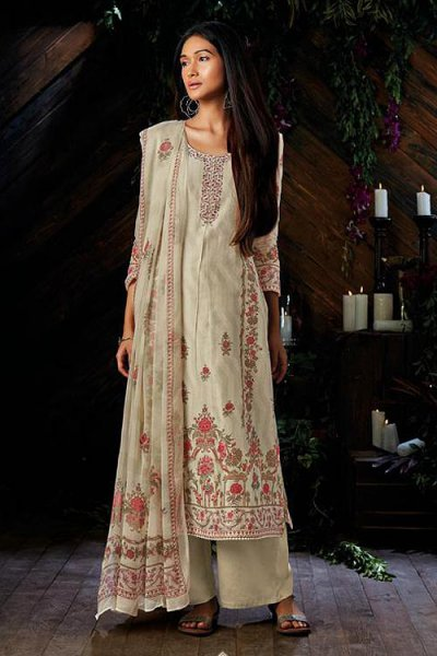 Off-White Pure Kora Silk Palazzo Suit In Digital Print With Chiffon Dupatta