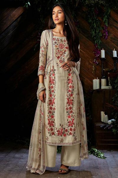 Off-White Printed Palazzo Suit In Pure Kora Silk With Chiffon Dupatta