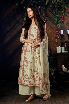 Gorgeous Pure Kora Silk Printed Palazzo Suit With Chiffon Dupatta In Off-White