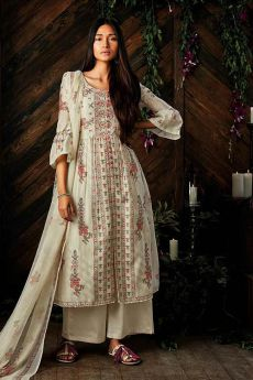 Stunning Off-White Digital Printed Pure Kora Silk Palazzo Suit With Chiffon Dupatta
