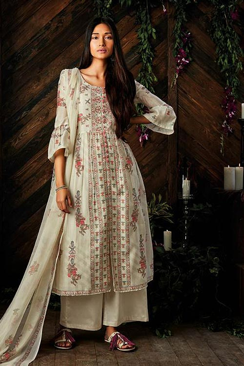 Ready to Wear Off-White Digital Printed Pure Kora Silk Palazzo Suit With Chiffon Dupatta