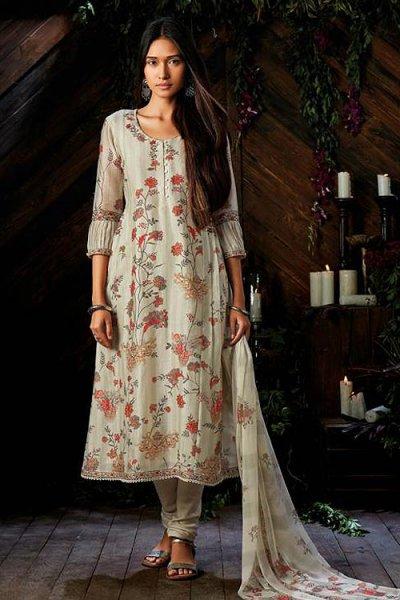 Off-White Churidar Suit In Pure Kora Silk With Chiffon Dupatta