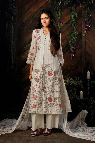 Off-white Pure Kora Silk Palazzo Salwar Suit With Chiffon Dupatta