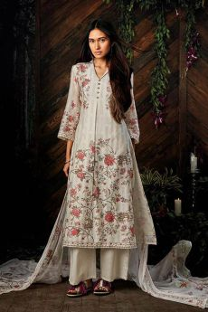 Off-white Pure Kora Silk Palazzo Salwar Suit With Chiffon Dupatta