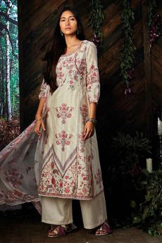 Beautiful Pure Kora Silk Angrakha Style Suit With Chiffon Dupatta In Off-White