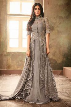 Grey Net Embroidered Designer Anarkali Suit