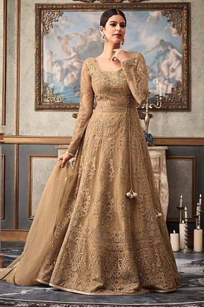 a66648f0fd4 Beige Brown Embroidered Anarkali Suit with Net Dupatta