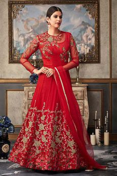 Radiant Red Floral Embroidered Anarkali Suit with Net Dupatta