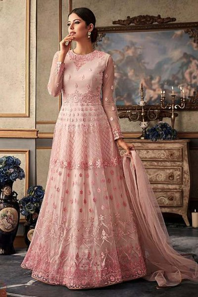 Pink Floral Embroidered Anarkali Suit with Net Dupatta