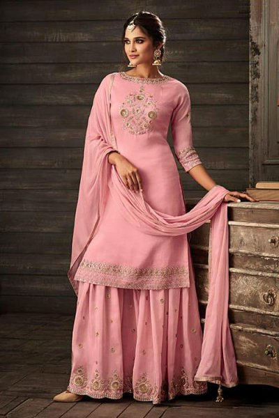 Stunning Pink Silk Palazzo Suit with Jacket