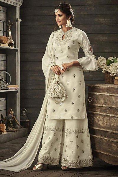 Ivory Elegant Palazzo Suit