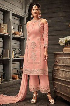 Peach embroidered Silk Palazzo suit