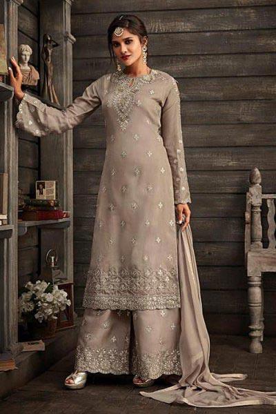 Grey Kora Silk Palazzo Suit