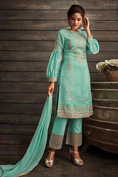 Turqoise blue Kora silk floral suit