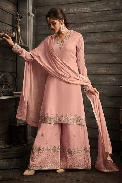 Baby Pink Palazzo Suit in silk with a cute Jacket