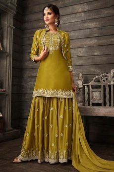 Just Gorgeous Dark Mustard Suit in Silk