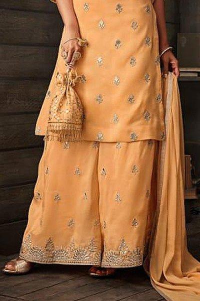 Tuscan Yellow Kora Silk Palazzo Suit