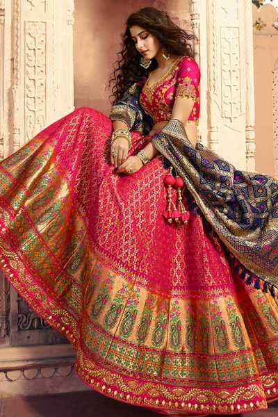 Ravishing Hot Pink Lehenga in Pure Jacquard Silk