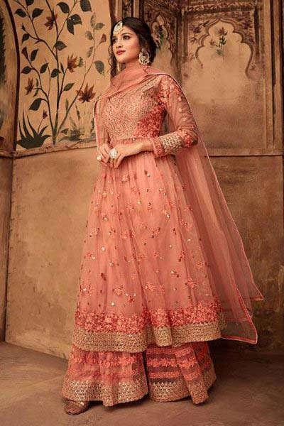 Floral Embroidered Net Sharara Suit in Peach Colour