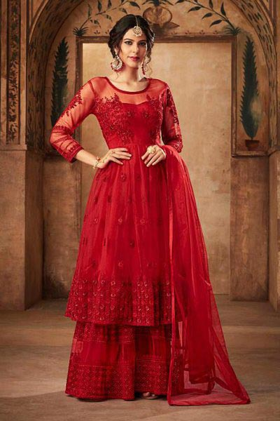 Floral Embroidered Net Sharara Suit in Rose Red Colour